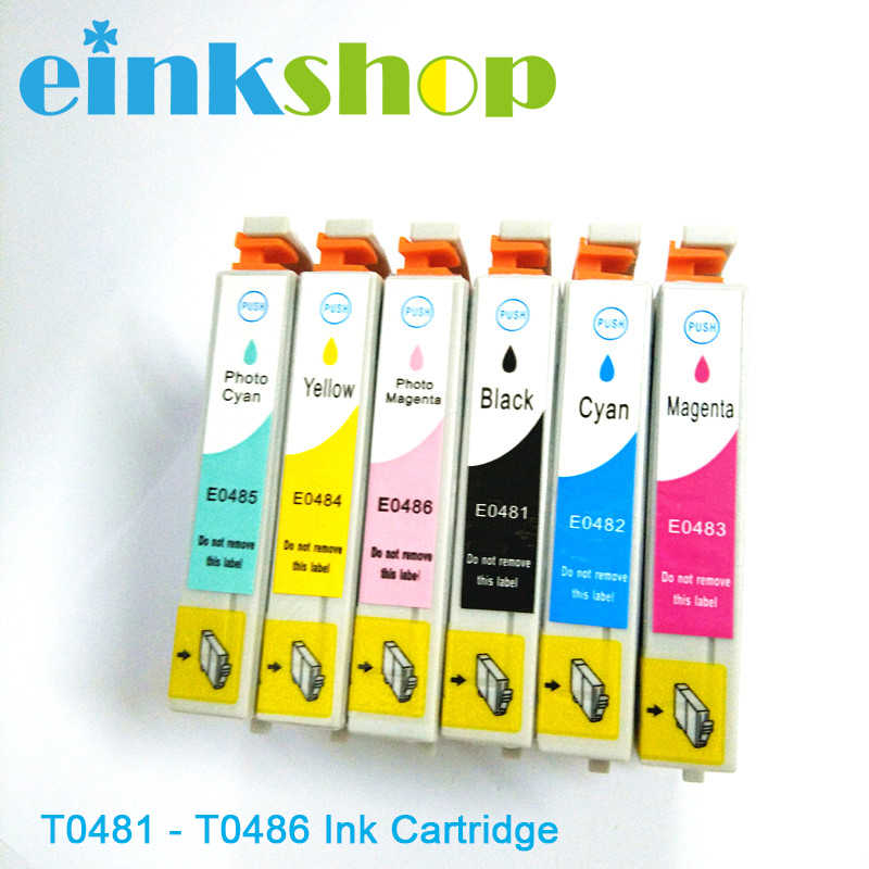 Einkshop T0481 Tinta untuk EPSON STYLUS PHOTO R200 R300 R220 R320 RX500 RX600 R300M R340 RX620 Printer T0481- t0486