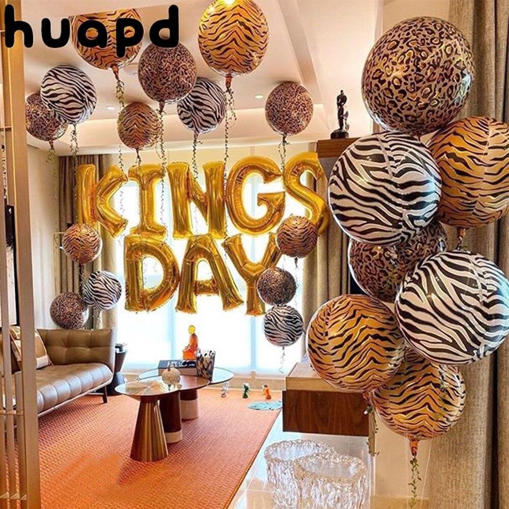 22 Polegada 4d animal listra leopardo impressão da folha de alumínio balão selva safari festa aniversário decoração crianças balão hélio