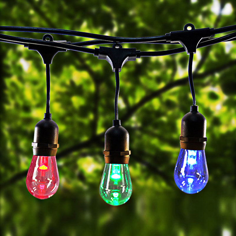 La ficelle commerciale de LED de 15M allume la lumière multicolore de S14 LED IP65 LED le rétro Patio extérieur de jardin de rue d'ampoule de Filament d'edison