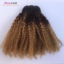 Ombre 1b/27 afro kinky curl três pacotes 14 16 18 Polegada costurado pela máquina 100% feixes de cabelo brasileiro do cabelo humano