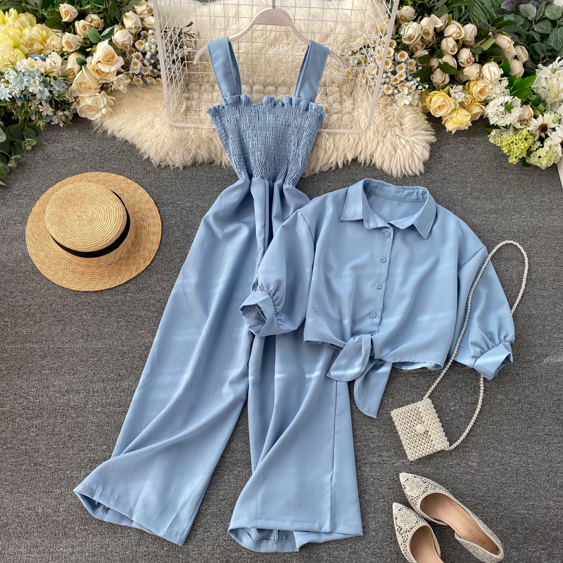 Fitaylor Summer Two Pieces Set Women Loose Short Sunscreen Jacket + Suspending Rompers Clothing Female Casual Holidays Suit