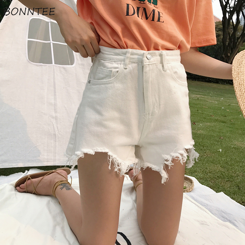 Shorts Women Summer Breathable All-match High Waist Loose Korean Style Students Trendy Womens Solid Color White Black Summer New