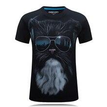 Summer T Shirt Men Tops Sunglasses Cat 3D Print Short Sleeve