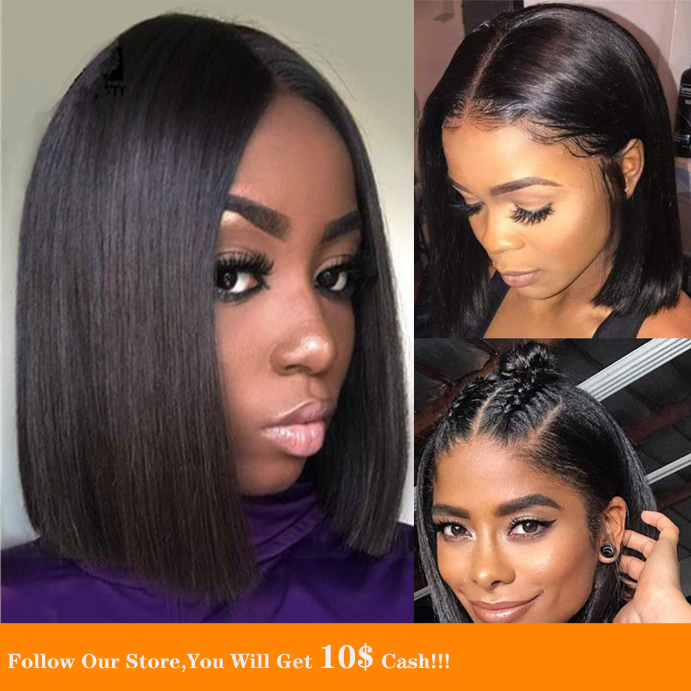 13x6 Lace Front Human Hair Wig Short Bob Black Straight Hair Ponytail Transparent Wig Pre Plucked With Baby Hair Natural Looking