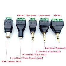 Adaptador de entrada de áudio de fone de ouvido, adaptador estéreo de conector de áudio 3.5mm rca, plugue mono de canal para parafuso, terminal de áudio mono plug de canal