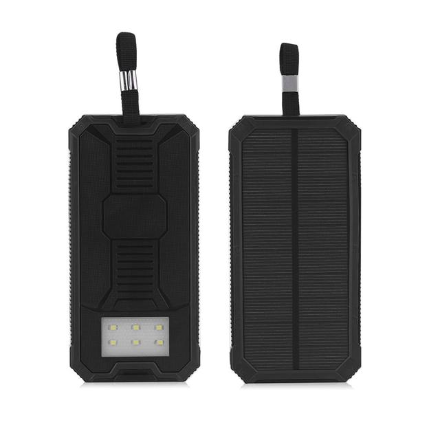 Portable Dual USB Port Solar Powered Power Bank SOS Camping Battery Power Supply Charger For Phones Portable Black convenient 4