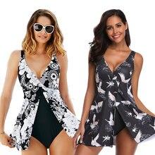 2020 New Plus Size XXXL One Piece Swimsuit With Skirt Sexy Deep V Print Bird Vintage Big Swimwear Beach Large 5XL Bathing Suit
