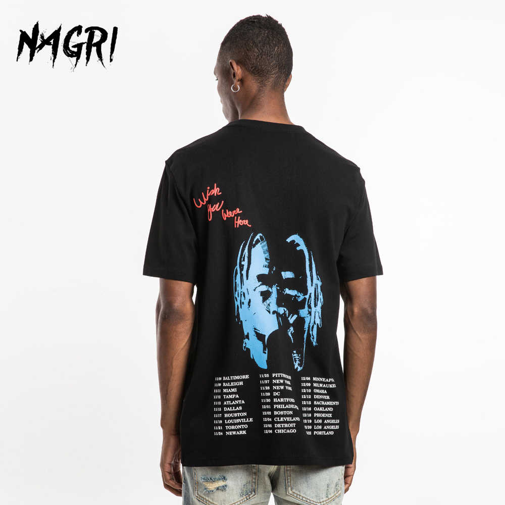 Nagri Hip Hop Casual Mannen T-shirt Travis Scott Astroworld Mode Brief Afdrukken Wensen U Waren Hier Harajuku T-shirts Mannen tee Tops