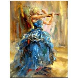 5D DIY алмазная живопись скрипка женщина полная квадратная круглая Алмазная вышивка Африканский стиль вышивка крестиком красивый комплект а...