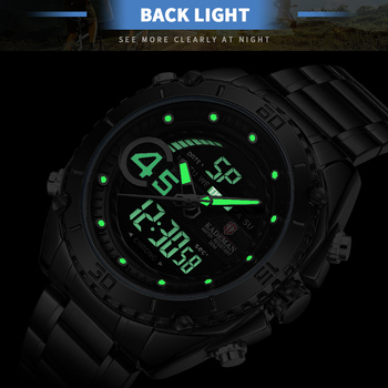 Golden Wristwatches Men LED Digital Analog Sport Military Watch Mens Dual Display Multifuntion Clock Man Quartz Watches K9054