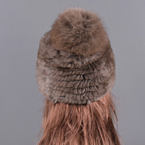 Image 2 - Winter Fur hat for women Real rabbit Fur Hats Elastic Warm Soft Fluffy Genuine Fox Fur Pompom Cap Luxurious Quality Natural fur
