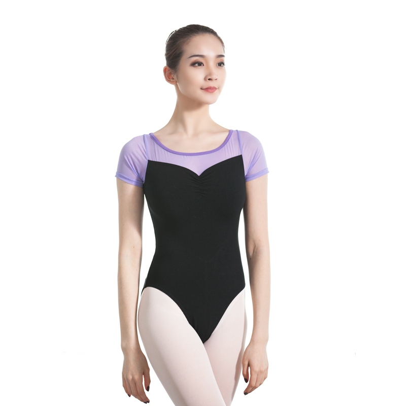 women leotard short sleeve dance mesh ballet gymnastics swimsuit dancewear sportswear