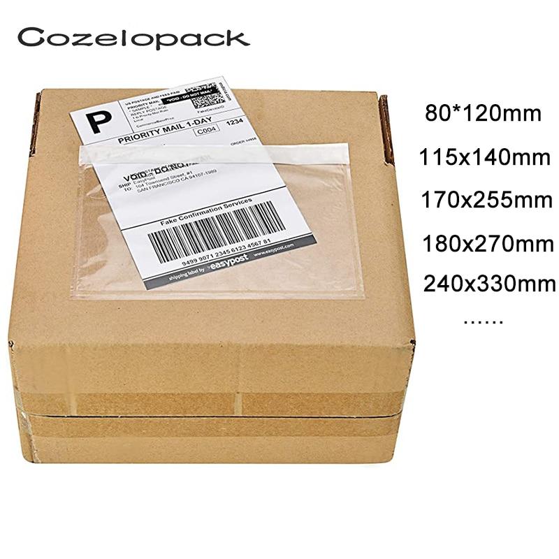 100PCS/14sizes Clear Packing List Enclosed Envelopes Plain Plain Face Back Load Shipping Label Envelopes Label Envelopes Pouches