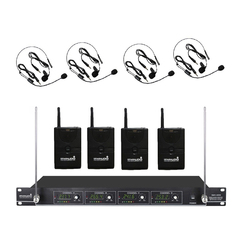 STARAUDIO Professional 4 Channel VHF Lavalier Lapel Headset Wireless Microphone System For Stage Disco Church Party SMV-4000B