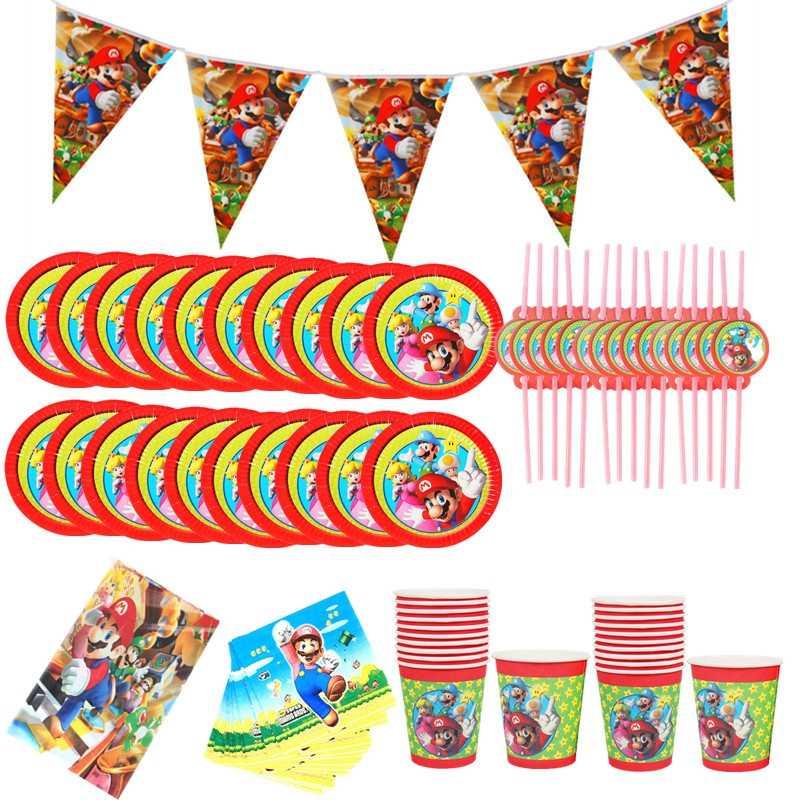 82 pçs/lote descartáveis utensílios de mesa para festa de aniversário suprimentos super mario bros festa suprimentos decoração guardanapo de papel placa copos