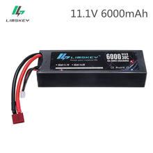 Limskey lipo bateria 3s 11.1v 6000mah 30/60c hardcase para 1/8 caminhão de carro barco para rc carro de corrida barco avião drones helicóptero