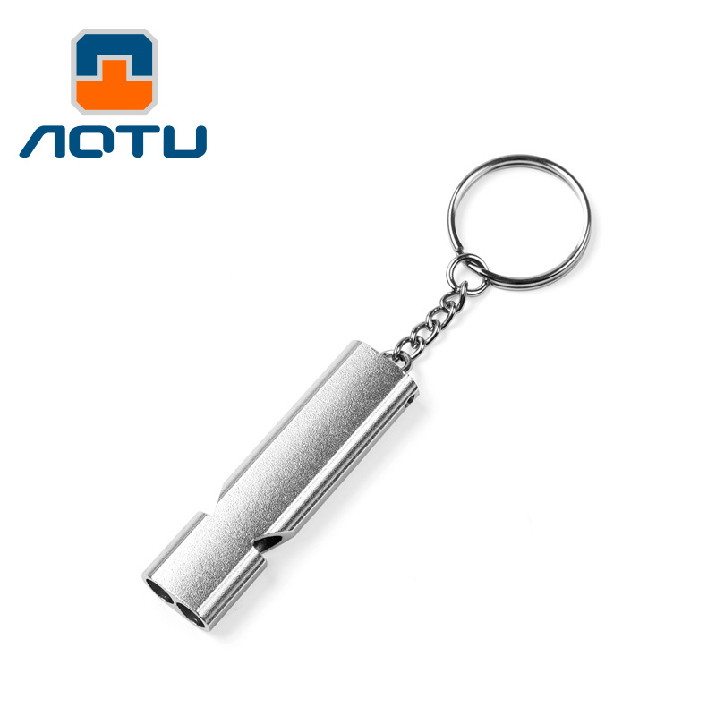 Outdoor High Decibel Whistle Silbato Camping Hiking Safety Whistles Survival Tool Aluminum Alloy Emergency Double Pipe Silbato