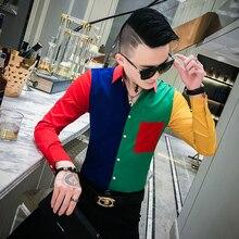 Moda contraste cor camisa masculina outono dos homens camisas casuais fino ajuste bolso frontal streetwear manga longa festa wear smoking camisa