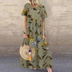 ZANZEA Fashion Summer Maxi Dress Women's Printed Sundress Casual Short Sleeve Vestidos Female High Waist Robe Femme Plus Size