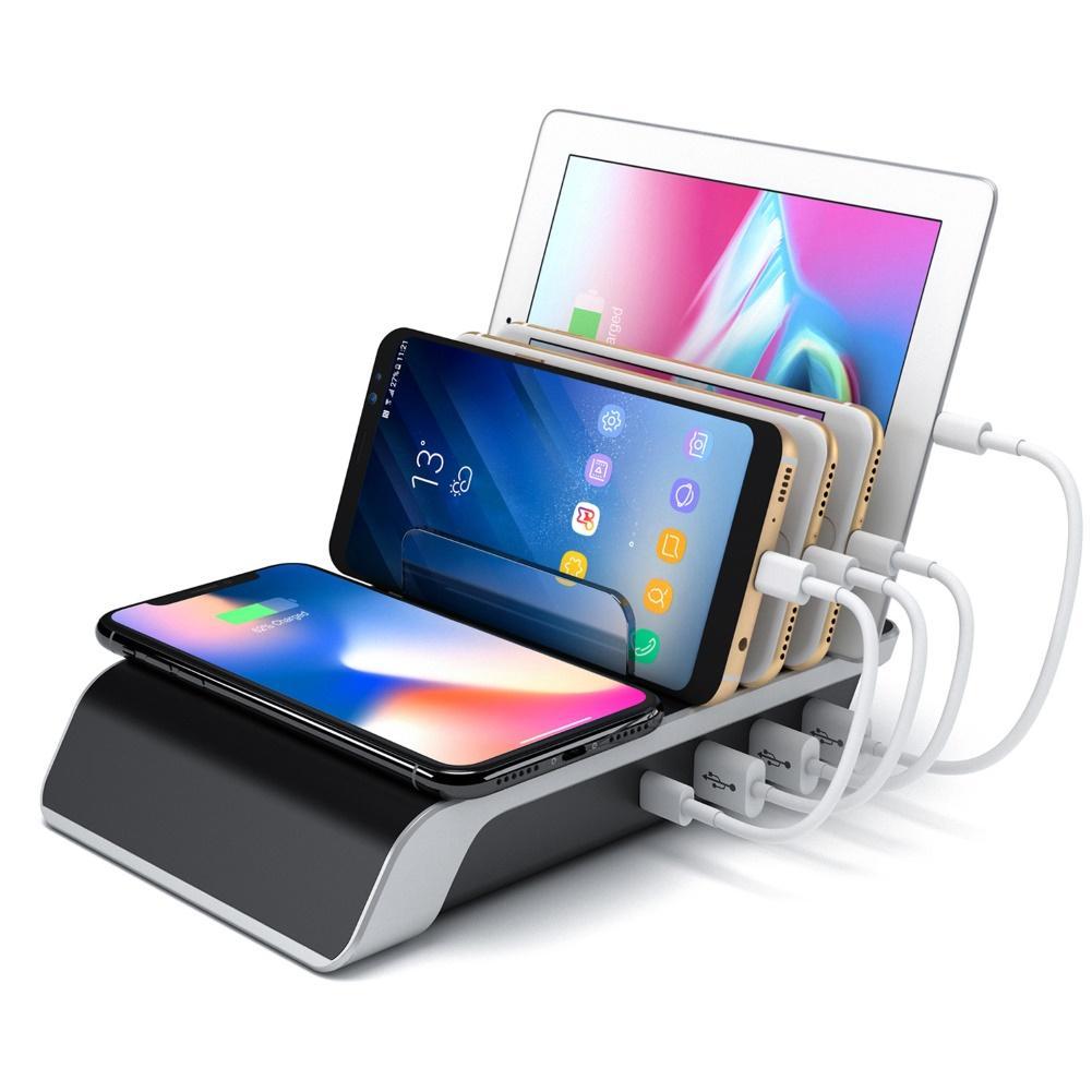 4 Ports USB Hub Qi rapide station de charge sans fil support de support de téléphone portable AU/états-unis/royaume-uni/EU Plug accessoires de téléphone
