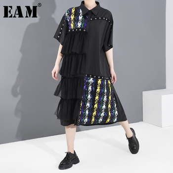 [EAM] Women Black Mes Layers Split Sequins Big Size Shirt Dress New Lapel Half Sleeve Loose  Fashion Spring Summer 2020 1T956