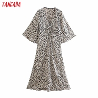 Tangada 2021 Women Flowers Print French Style Long Dress Flare Sleeve Ladies Dress 3H131 1