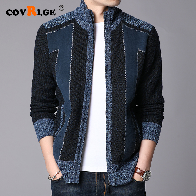 Covrlge Winter Thick Warm Sweater Coat Men Cardigan Jumpers Men Patchwork Cashmere Wool Liner Zipper Fleece Coats Men MWK014