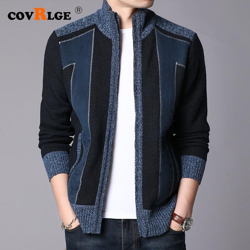 Covrlge Winter Thick Warm Sweater Coat Men Cardigan Jumpers Men Patchwork Cashmere Wool Liner Zipper Fleece Coats Men MWK014