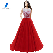 DEERVEADO Elegant Lace Royal Blue Evening Dress Bridal Bouquet Dresses Evening Gown Formal Dress Robe De Soiree Longue S304