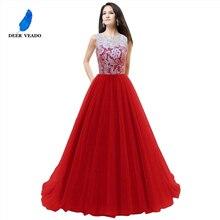 DEERVEADO Elegante Del Merletto Reale Abito Da Sera Blu Bouquet Da Sposa Abiti Da Sera femminile Vestito Convenzionale Robe De Soiree Longue S304