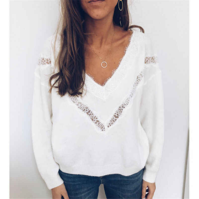 니트 스웨터 여성 streetwear v 목 긴 소매 풀오버 느슨한 솔리드 코트 2019 가을 겨울 패션 여성 스웨터