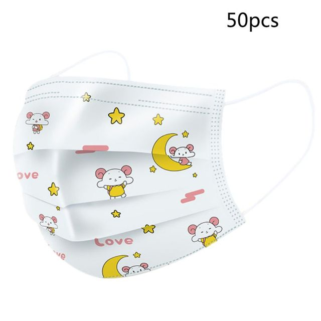 0Pcs Infant Baby Kids Disposable 3-Ply Mouth Mask Colorful Cartoon Dinosaur Printed Melt-Blown Dustproof Face Cover 2
