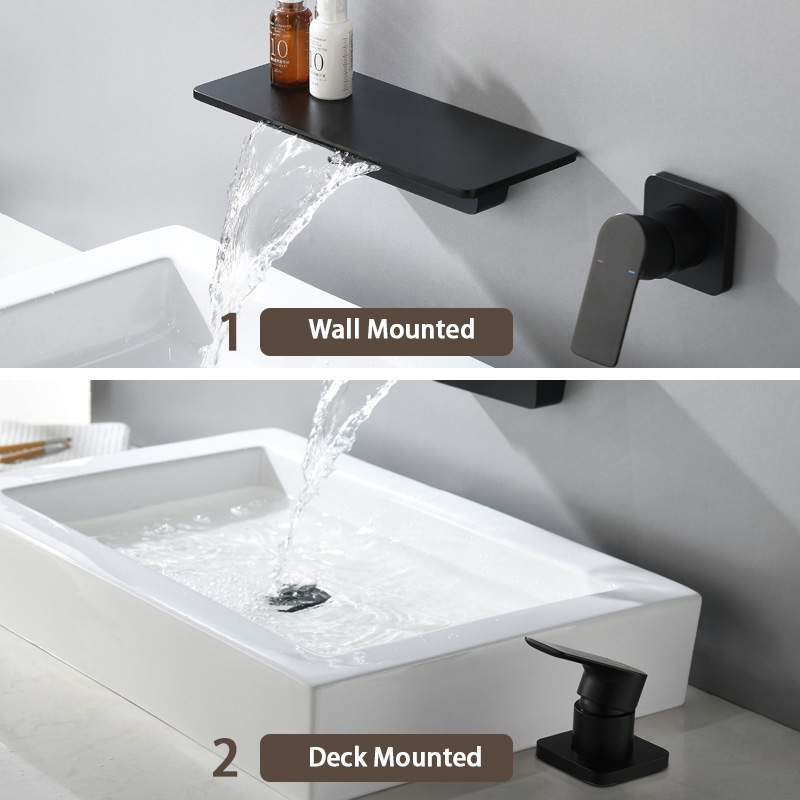waterfall faucet matte black wall mounted bathroom bathtub faucet large shelf platform basin water mixer quality tap