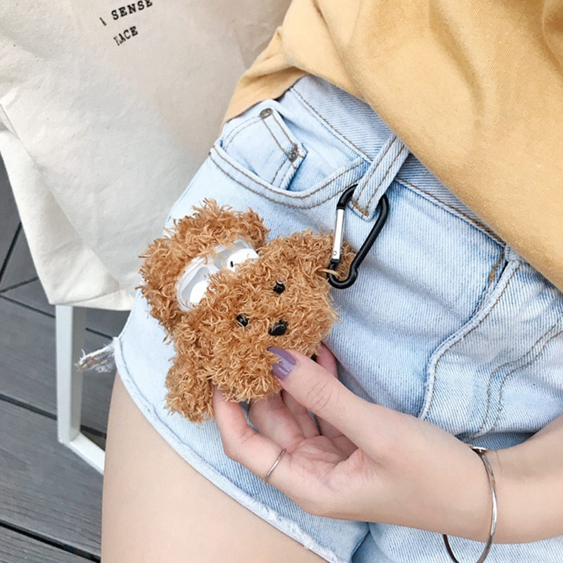Cute Fluffy Bluetooth Earphone Case For AirPods Cover Teddy Dog Plush Protective Cover For Apple Air Pods Headphone Case