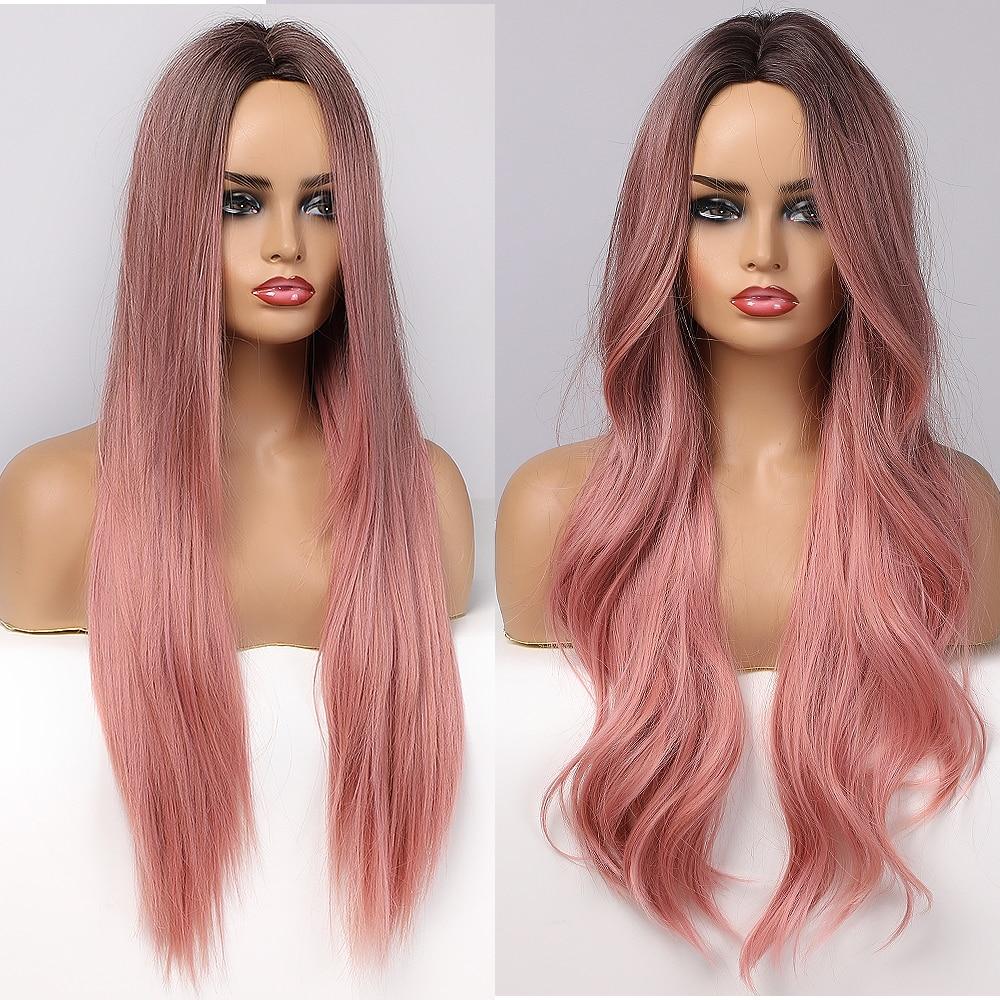 ALAN EATON longues perruques synthétiques ondulées Ombre noir rose perruques pour femmes Cosplay naturel moyen partie cheveux perruque haute température fibre
