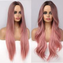 ALAN EATON-pelucas sintéticas de pelo largo ondulado para mujer, pelucas de pelo degradado en negro y rosa para mujer, peluca de pelo de parte media Natural de fibra de alta temperatura