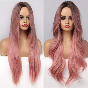 ALAN EATON Long Wavy Synthetic Wigs Ombre Black Pink for Women Cosplay Natural Middle Part Hair Wig High Temperature Fiber - discount item  45% OFF Synthetic Hair