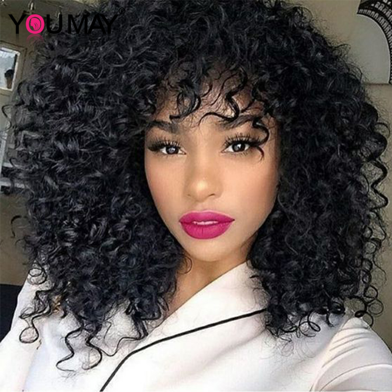 Curly Human Hair Wigs With Bangs For Women 250 Density 13x6 Bob Lace Front Wigs 360 Lace Frontal Wigs With Bangs 30 Inch You May