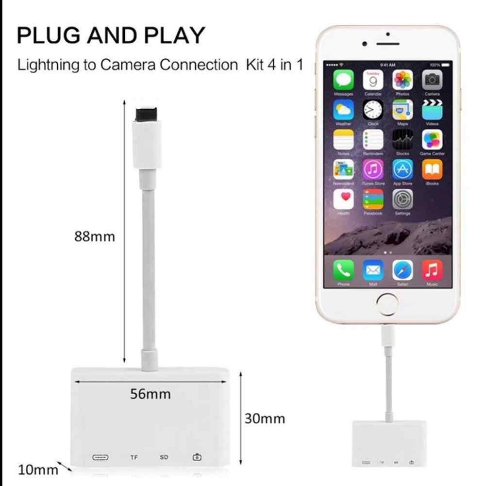 4 em 1 relâmpago para usb câmera adaptador sd/tf leitor de cartão kit para iphonex xs 8/7 ipad usb 3.0 otg cabo 8 pinos porto de carregamento