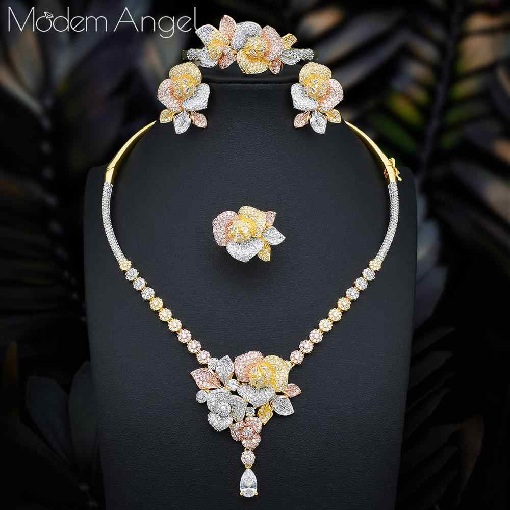ModemAngel ดอกไม้หรูหราใหม่ 4pcs แอฟริกัน Cubic Zircon CZ ไนจีเรียชุดเครื่องประดับสำหรับงานแต่งงานดูไบ GOLD เครื่องประดับเจ้าสาวชุด