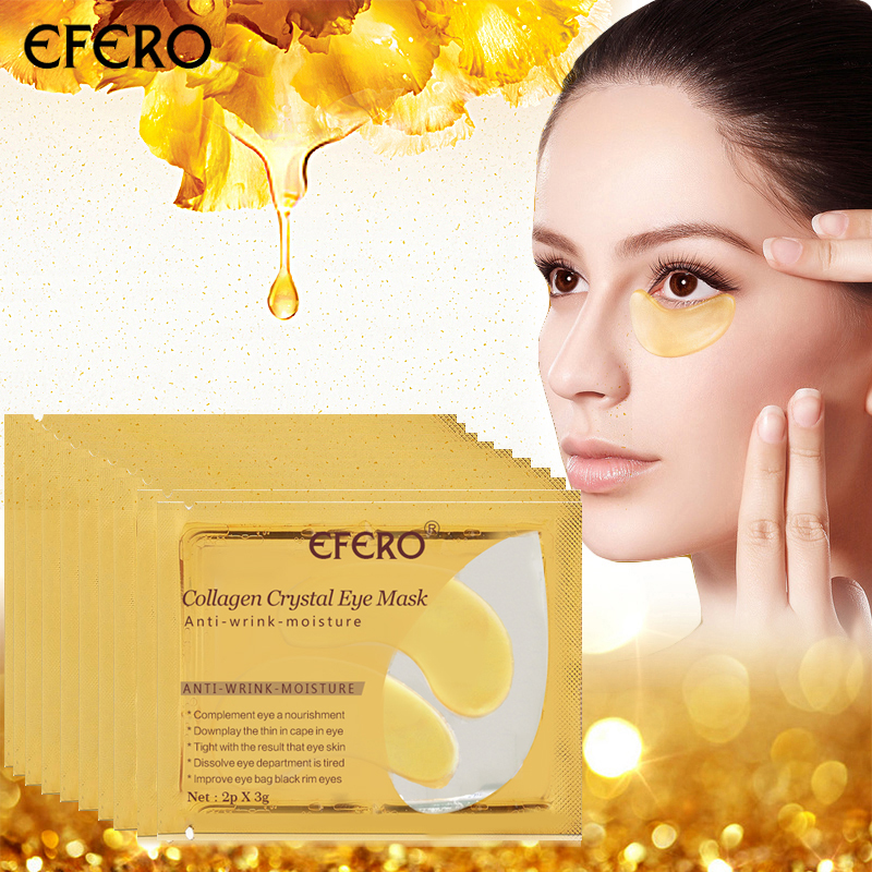 EFERO 5pair=10pcs Gold Crystal Collagen Eye Mask Eyelid Pads Anti Wrinkle Eye Patches Cream Dark Circle Remover Repair Fine Line
