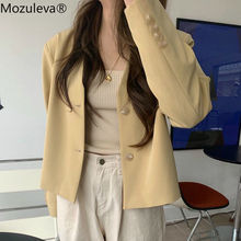 Mozuleva V-neck Chic Single-breasted Female Blazer Casual Streetwear Women Suit