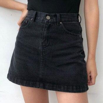 NOVEDAD DE VERANO 2020, vaquero Negro Azul Sexy por encima de la rodilla, Mini falda para mujer Línea A, cintura Imperio, chica B002