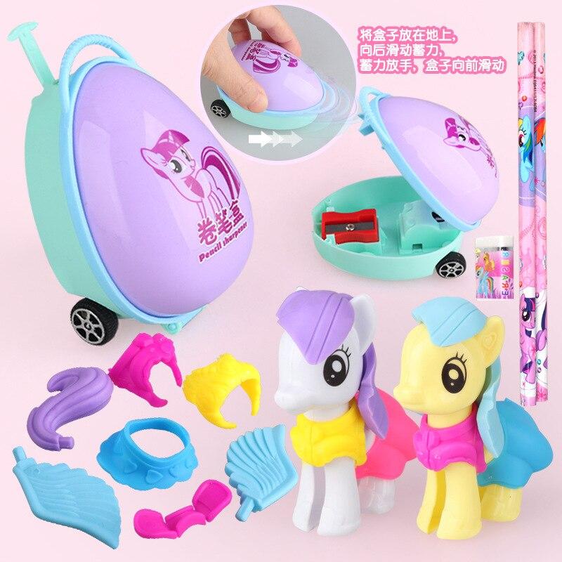 Pony Doll Pencil Eraser Pen Box Learning Set Baoli Princess School Supplies Pull Back Trolley Case Toy