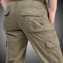 Nowe spodnie Cargo mężczyźni wiele kieszeni Baggy męskie spodnie wojskowe spodnie typu Casual kombinezony spodnie wojskowe biegaczy Plus rozmiar 40 42 44 bawełna