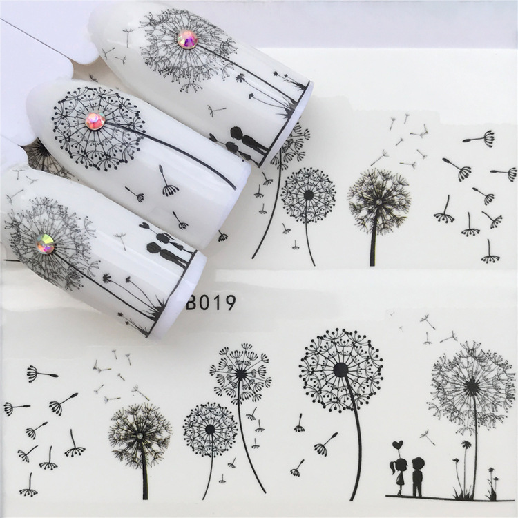 Environmentally Friendly Nail Sticker Pregnant Women Children Usable Dandelion UV Polish Nail Sticker YZW-B019