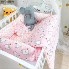 Новорожденный ребенок Постельное белье 3 шт./компл. детские кроватки детские одеяла для новорожденных, детская подушка, из хлопка, с героями мультфильмов, костюм для малышей на перила кроватки