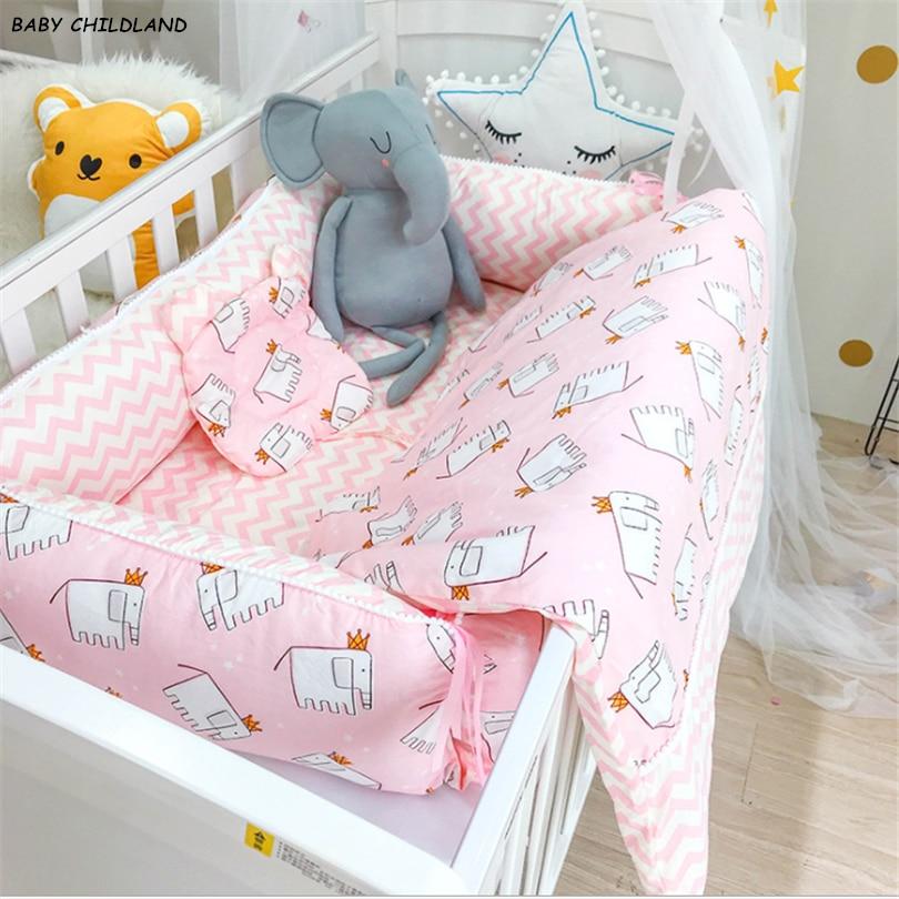 Новорожденный ребенок Постельное белье 3 шт./компл. детские кроватки детские одеяла для новорожденных, детская подушка, 100% из хлопка, с героями мультфильмов, костюм для малышей на перила кроватки