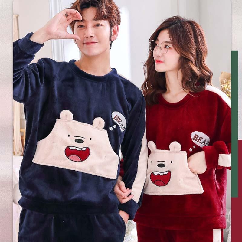 Adult Unisex Couple Pajamas Men Pajamas Set 2 Pcs Animal Cartoon Thickening Sleepwear Round-neck Warm Winter  Home Clothes