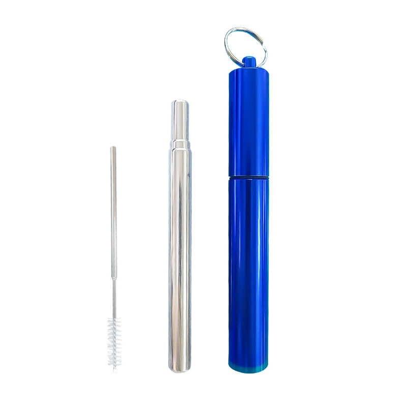 Opvouwbare Metalen Straw Fold Set Draagbare Vouwen Herbruikbare Opvouwbare Rietje Rvs Rietjes voor Bar Accessoires